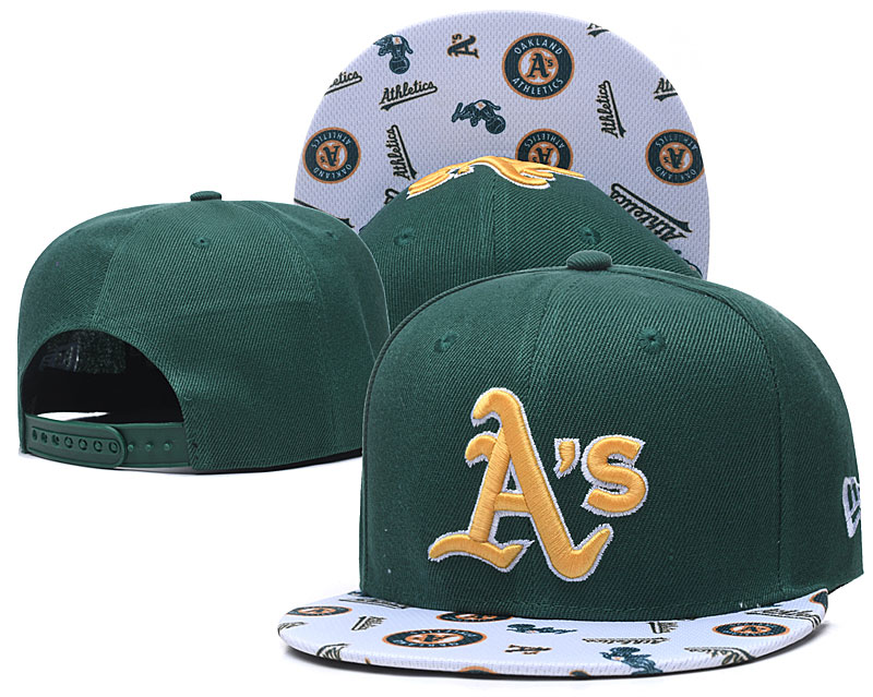 Athletics Team Logo Green White Adjustable Hat TX