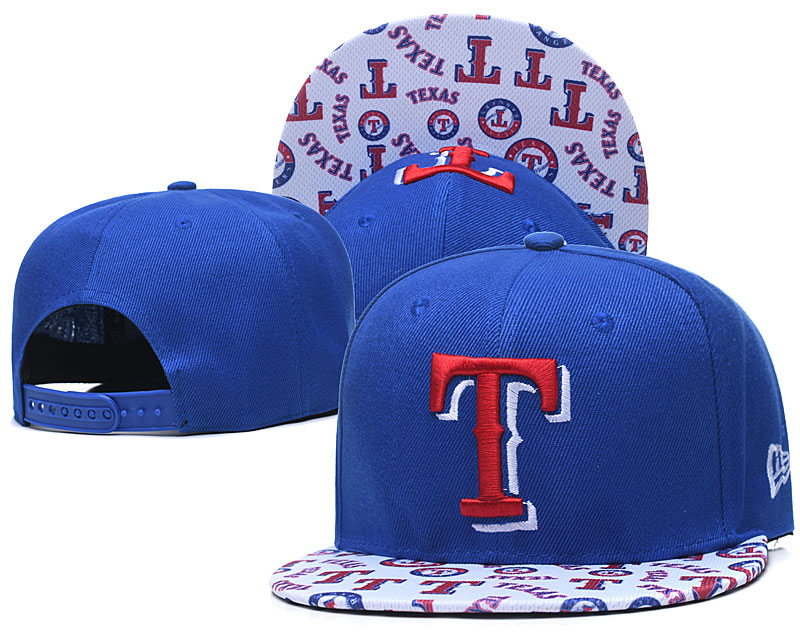 Rangers Team Logo Royal White Adjustable Hat TX