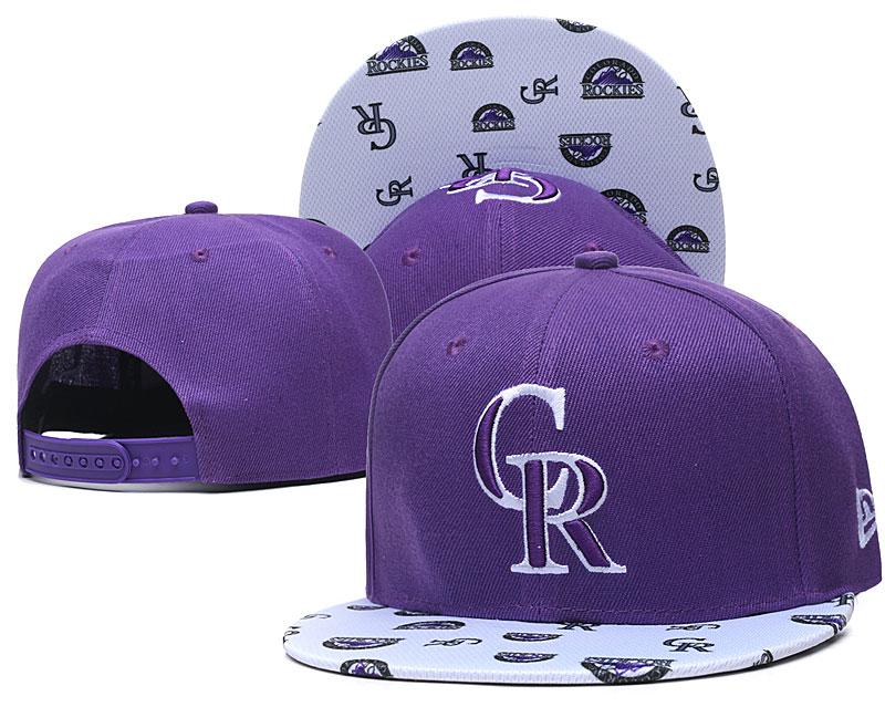 Rockies Team Logo Purple White Adjustable Hat TX
