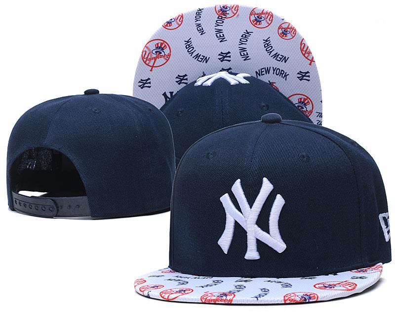 Yankees Team Logo Navy White Adjustable Hat TX
