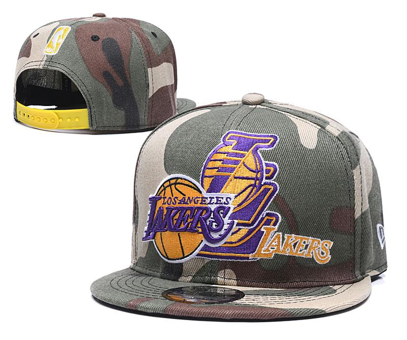Lakers Team Logo Olive Adjustable Hat LH