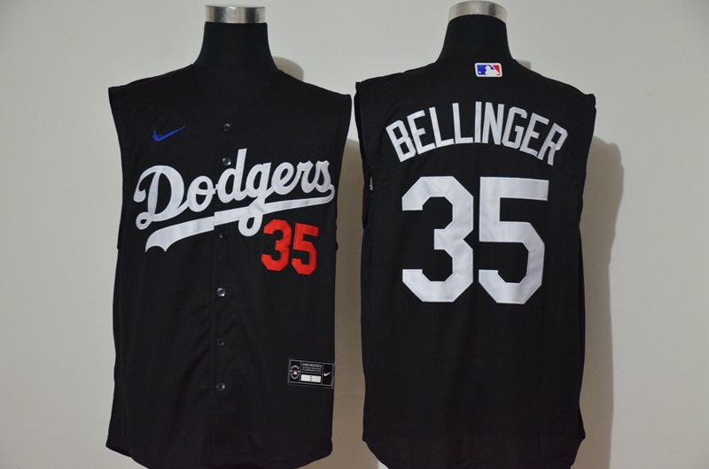 Dodgers 35 Cody Bellinger Black Nike Cool Base Sleeveless Jersey