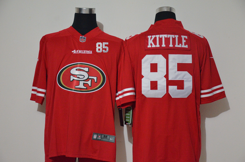 Nike 49ers 85 George Kittle Red Team Big Logo Number Vapor Untouchable Limited Jersey