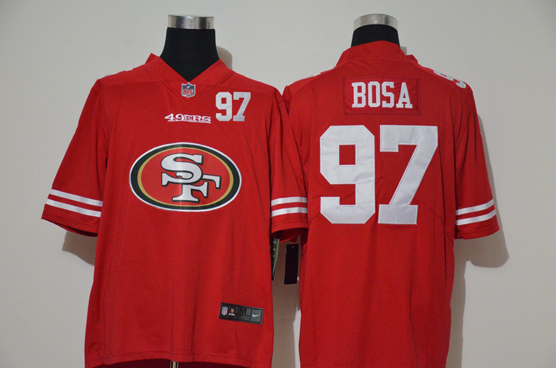 Nike 49ers 97 Nick Bosa Red Team Big Logo Number Vapor Untouchable Limited Jersey