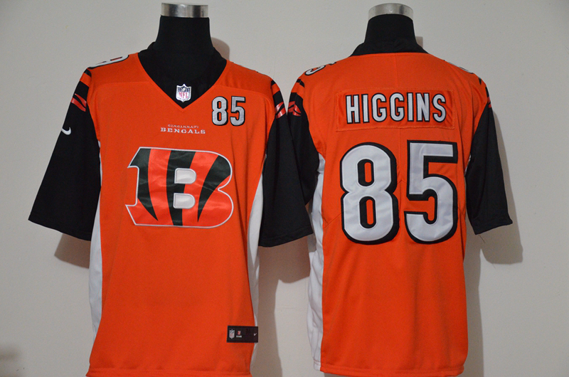 Nike Bengals 85 Tee Higgins Orange Team Big Logo Number Vapor Untouchable Limited Jersey