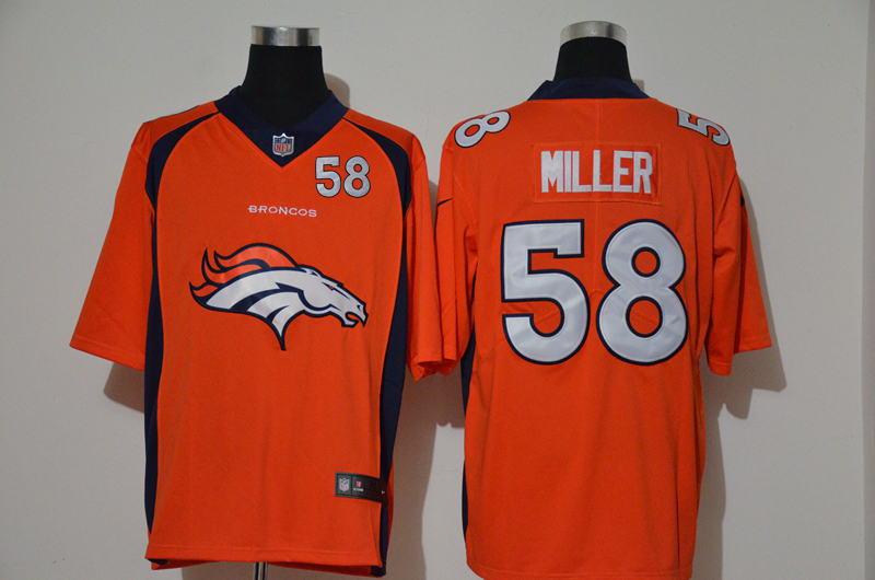 Nike Broncos 58 Von Miller Orange Team Big Logo Number Vapor Untouchable Limited Jersey