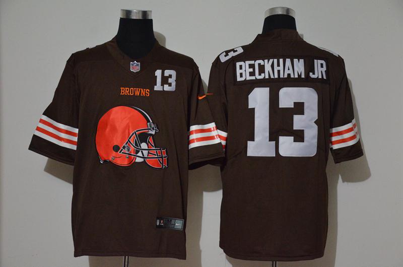 Nike Browns 13 Odell Beckham Jr. Brown Team Big Logo Number Vapor Untouchable Limited Jersey