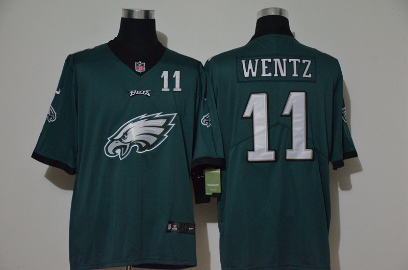 Nike Eagles 11 Carson Wentz Green Team Big Logo Number Vapor Untouchable Limited Jersey