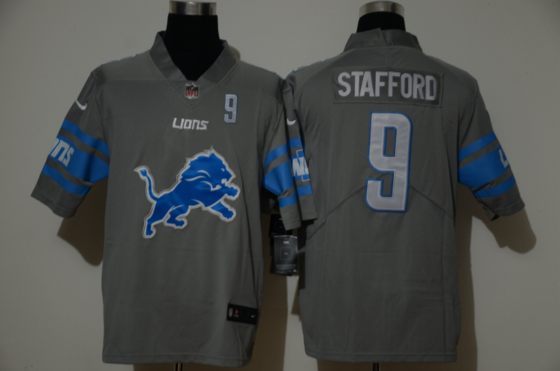 Nike Lions 9 Matthew Stafford Gray Team Big Logo Number Vapor Untouchable Limited Jersey