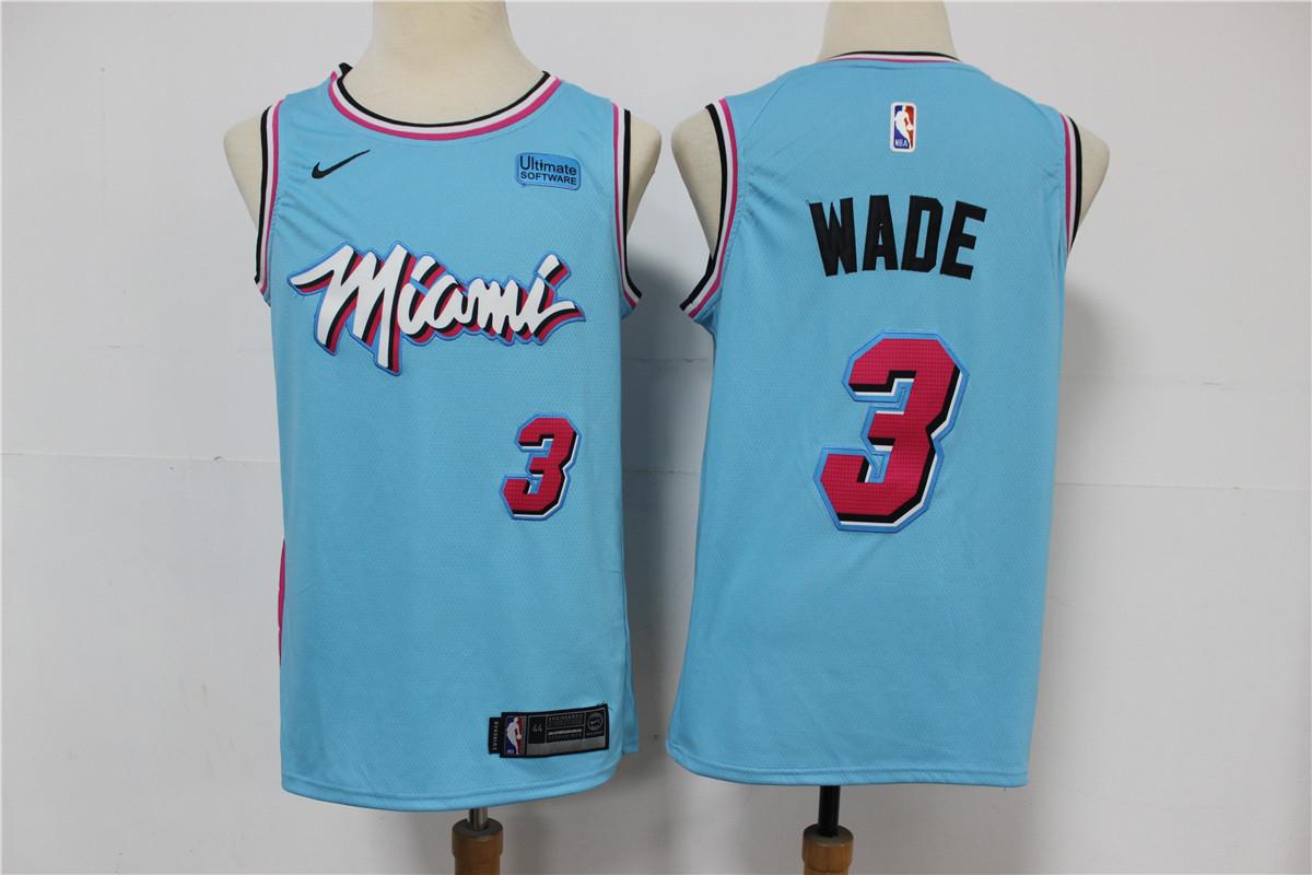 Heat 3 Dwyane Wade Light Blue 2020 Nike City Edition Swingman Jersey
