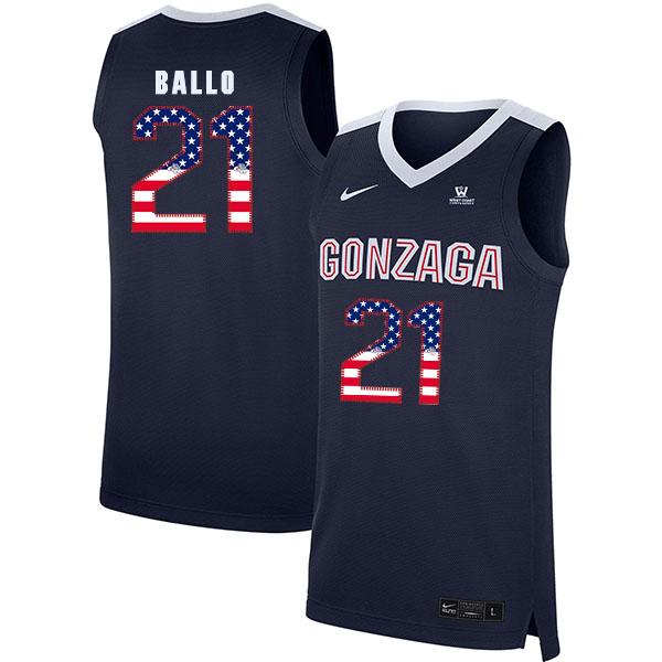 Gonzaga Bulldogs 21 Oumar Ballo Navy USA Flag College Basketball Jersey