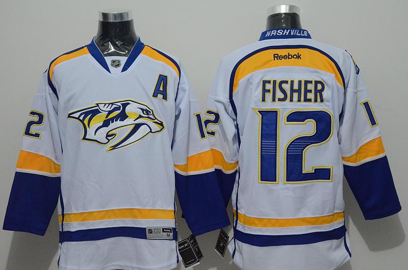 Predators 12 Fisher White Reebok Jersey