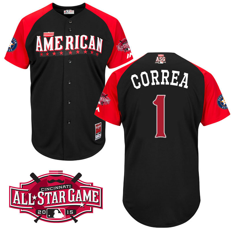 American League Astros 1 Correa Black 2015 All Star Jersey