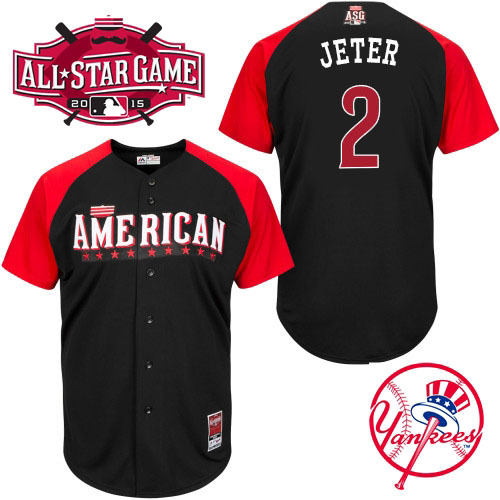 American League Yankees 2 Jeter Black 2015 All Star Jersey