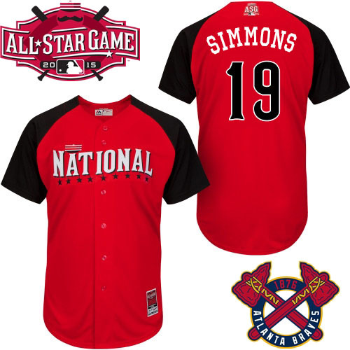 National League Braves 19 Simmons Red 2015 All Star Jersey