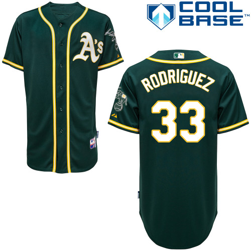 Athletics 33 Rodgiguez Green Cool Base Jerseys