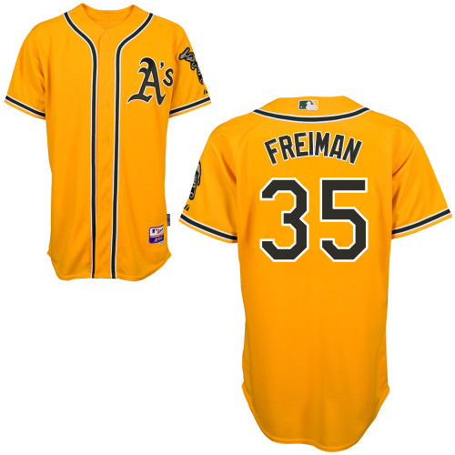 Athletics 35 Freiman Yellow Cool Base Jerseys