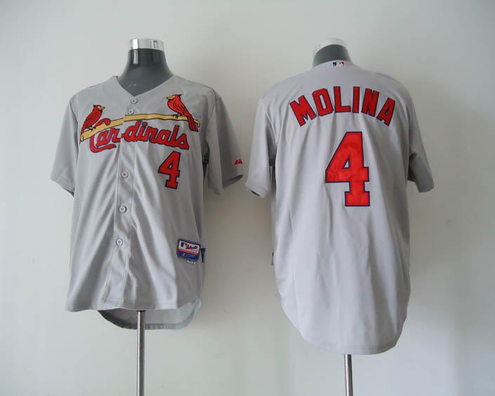 Cardinals 4 Molina grey Jerseys