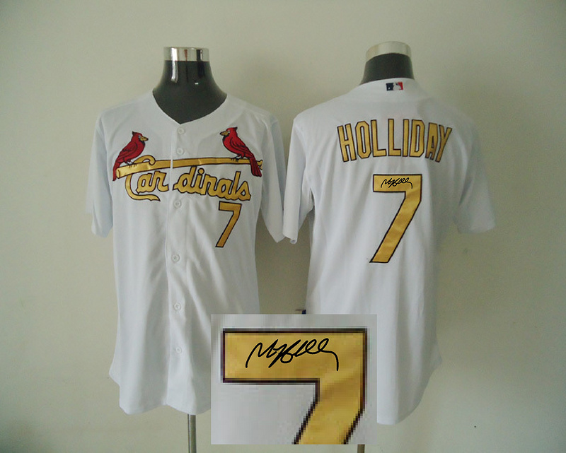 Cardinals 7 Holliday White Authentic 2012 Commemorative Signature Edition Jerseys
