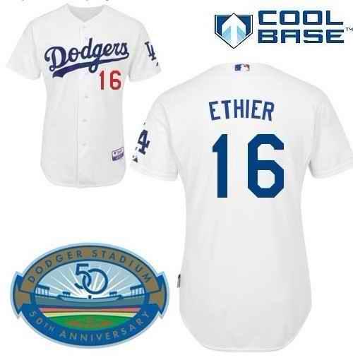 Dodgers 16 ETHIER White 50th jerseys