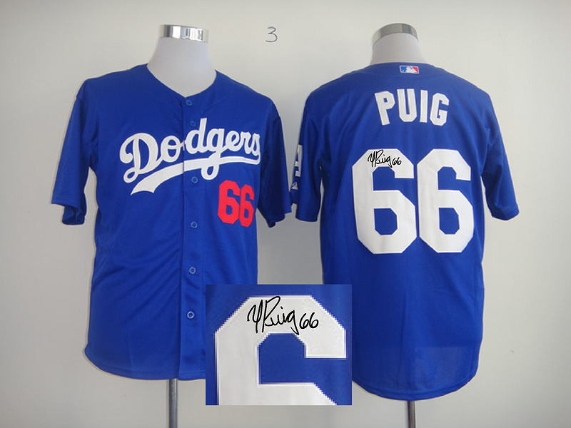 Dodgers 66 Puig Blue Signature Edition Jerseys