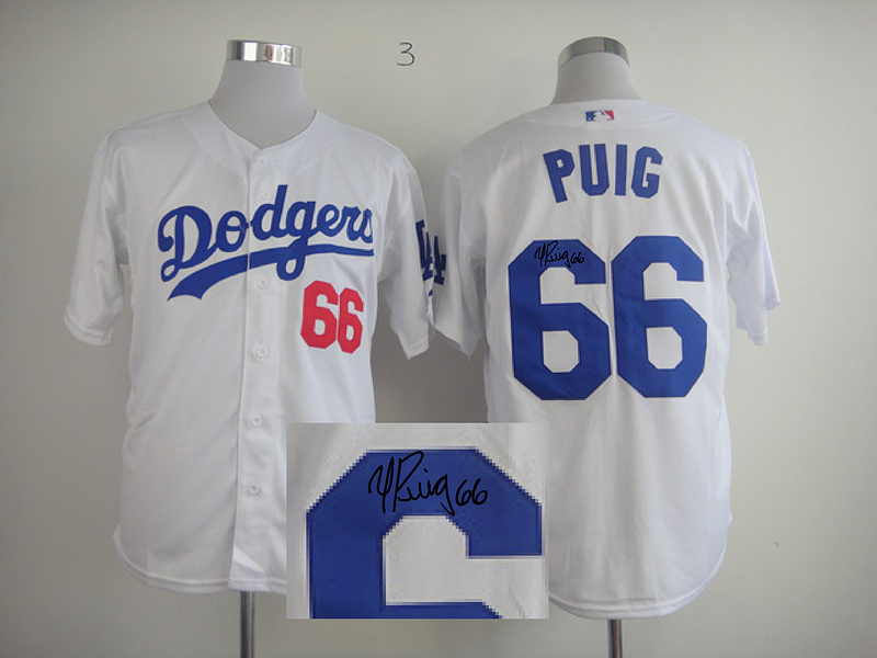Dodgers 66 Puig White Signature Edition Jerseys