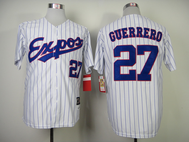 Expos 27 Guerrero White Blue Stripe Jerseys