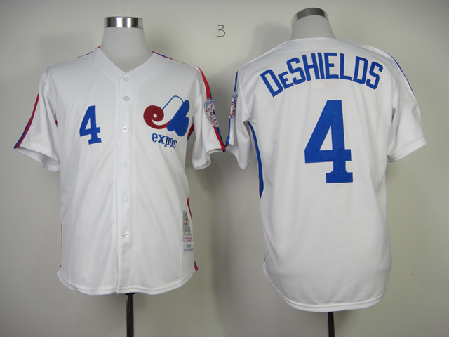 Expos 4 DeShields White Throwback Jerseys