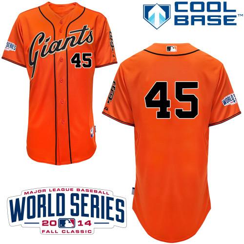 Giants 45 Ishikawa Orange 2014 World Series Cool Base Jerseys