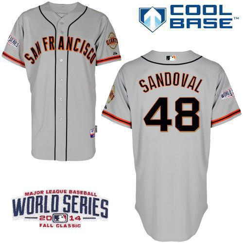 Giants 48 Sandoval Grey 2014 World Series Cool Base Road Jerseys