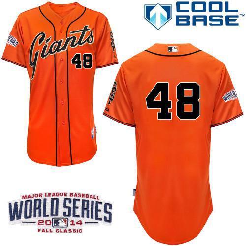Giants 48 Sandoval Orange 2014 World Series Cool Base Jerseys