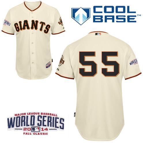 Giants 55 Lincecum Cream 2014 World Series Cool Base Jerseys