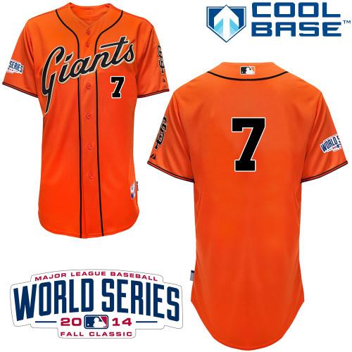 Giants 7 Blanco Orange 2014 World Series Cool Base Jerseys