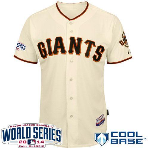 Giants Blank Cream 2014 World Series Cool Base Jerseys