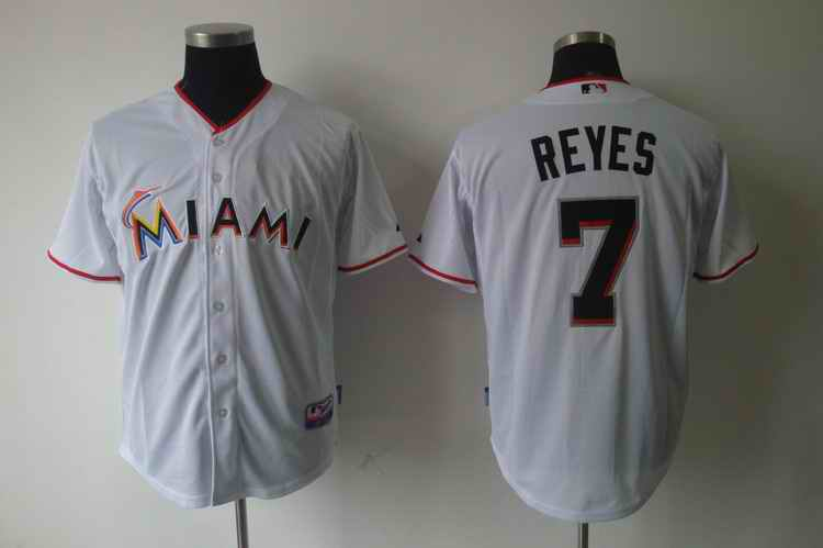 Marlins 7 REYES white jerseys