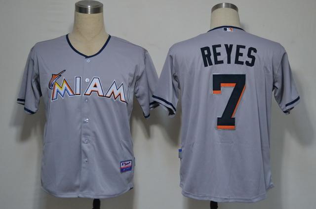 Miami Marlins 7 Jose Reyes Grey 2012 Jerseys