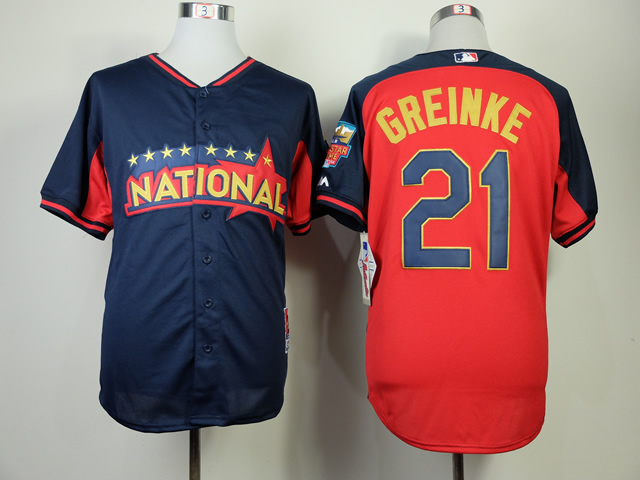 National League Dodgers 21 Greinke Blue 2014 All Star Jerseys