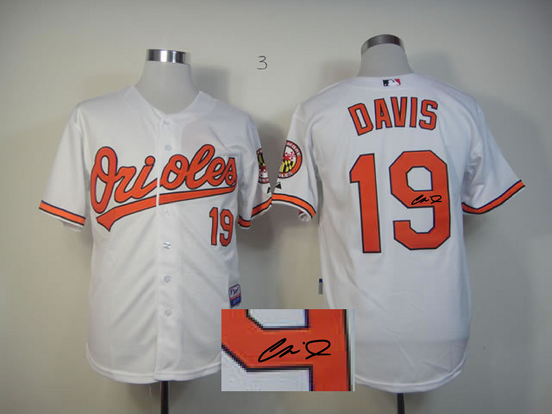 Orioles 19 Davis White Signature Edition Jerseys