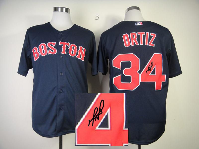 Red Sox 34 Ortiz Blue Signature Edition Jerseys