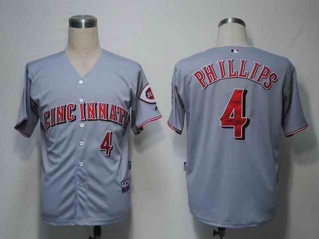 Reds 4 Phillips Grey Cool Base Jerseys