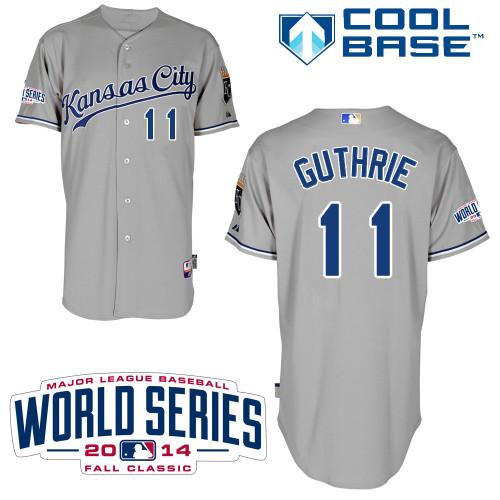 Royals 11 Guthrie Grey 2014 World Series Cool Base Jerseys