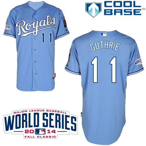 Royals 11 Guthrie Light Blue 2014 World Series Cool Base Jerseys