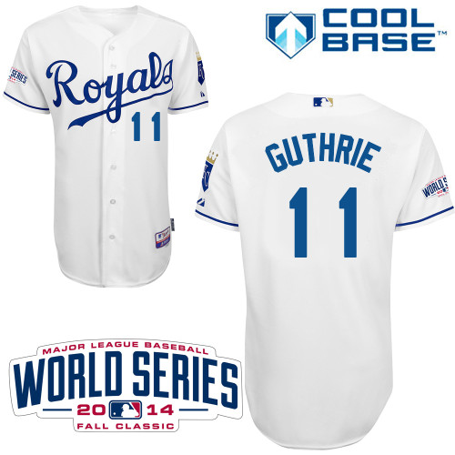 Royals 11 Guthrie White 2014 World Series Cool Base Jerseys