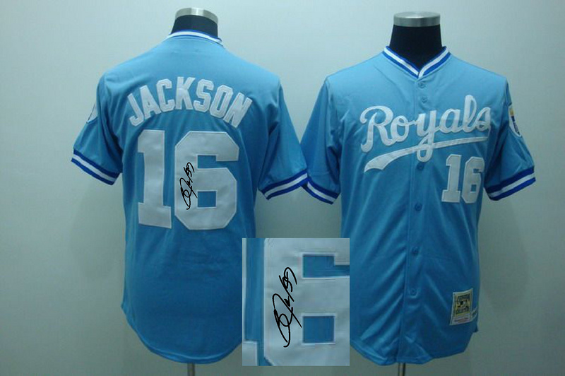 Royals 16 Jackson Blue M&N Signature Edition Jerseys