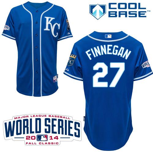Royals 27 Finnegan Blue 2014 World Series Cool Base Jerseys