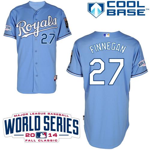 Royals 27 Finnegan Light Blue 2014 World Series Cool Base Jerseys