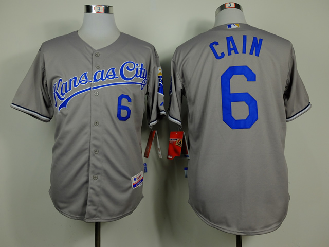 Royals 6 Cain Grey Cool Base Jerseys