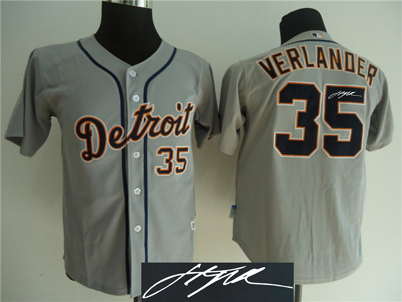 Tigers 35 Verlander Grey Signature Edition Jerseys