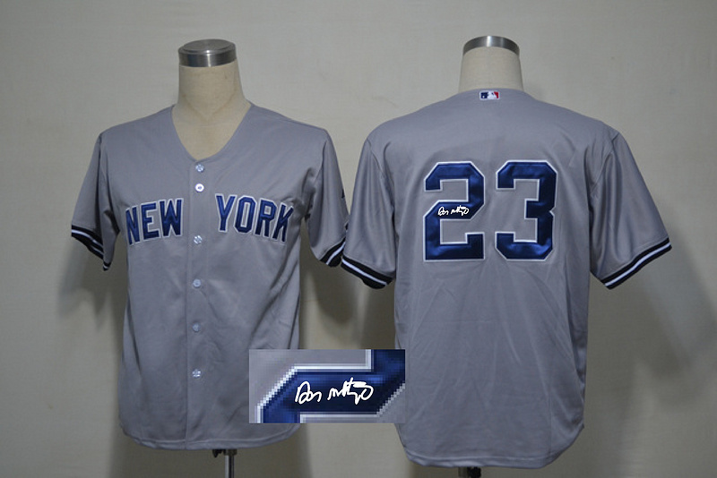 Yankees 23 Mattingly Grey Signature Edition Jerseys