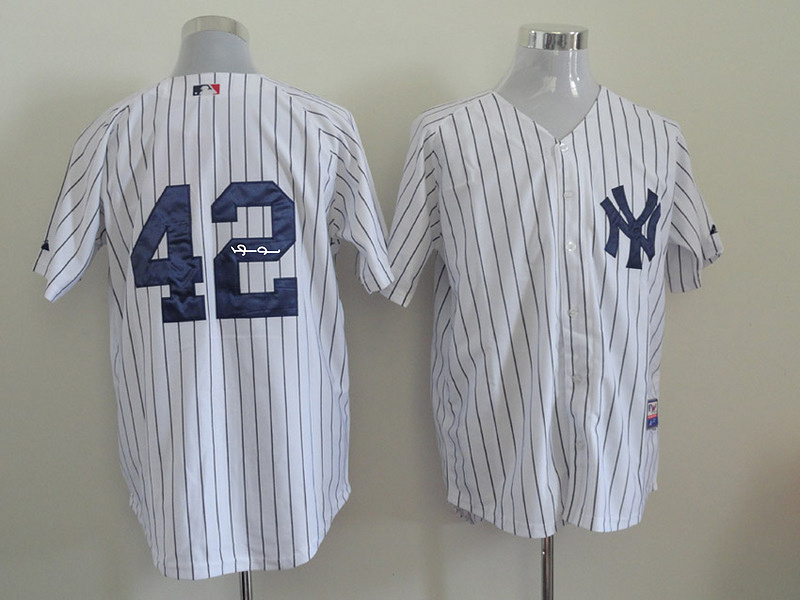 Yankees 42 Rivera White Signature Edition Jerseys
